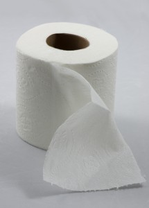 Roll of toilet paper with one sheet folded down in front. Brand: Trader Joe's Bath Tissue.