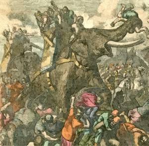 Elephant in Battle_Oil Painting